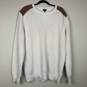 J Crew Cream Pullover Sweater Leather Shoulders